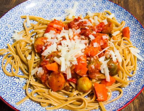 Spaghetti mit Kohlsprossen – Karotten – Ragout